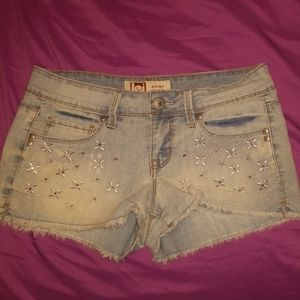 Lei Ashley Lowrise Embroidered Jean Shorts